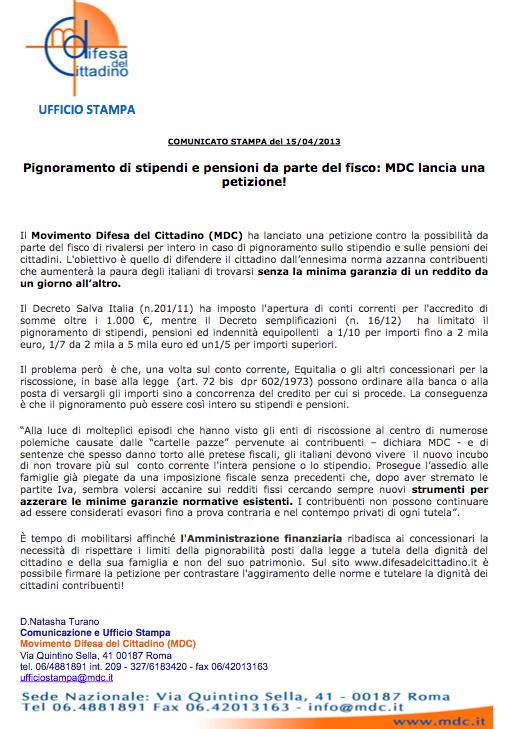 MDC Petizione pignoramenti stipendi e pensioni